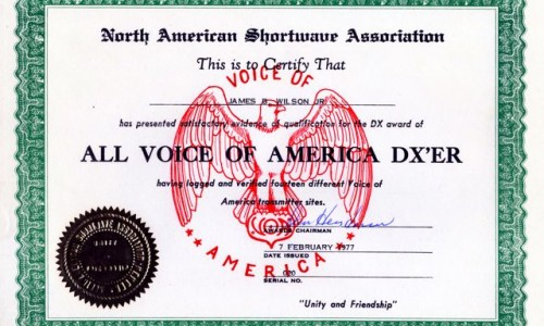 All VOA Certificate 020